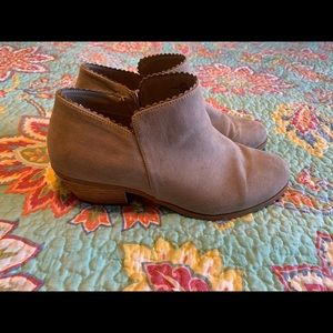 Torrid Taupe Scallop Ankle Bootie 11.5
